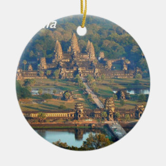 -Angkor-WAT-Angie. Round Ceramic Decoration