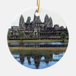 Angkor Wat Cambodia Temple Travel Photography Round Ceramic Decoration