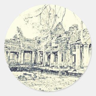 Angkor Wat Sketch Classic Round Sticker