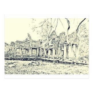 Angkor Wat Sketch Postcard
