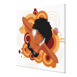 Angle of a woman enjoying music with headphones gallery wrapped canvas