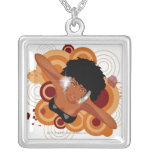 Angle of a woman enjoying music with headphones silver plated necklace