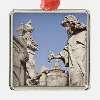 Angle Statue Close Up in La Recoleta Cemetery Silver-Colored Square Decoration