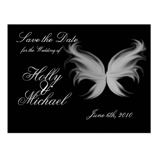 Angle wings,savethedate,wedding,classy,chic post card