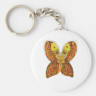 Angle with horns and skull basic round button key ring