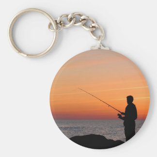 Angler and sunset on shore of the Baltic Sea Basic Round Button Key Ring