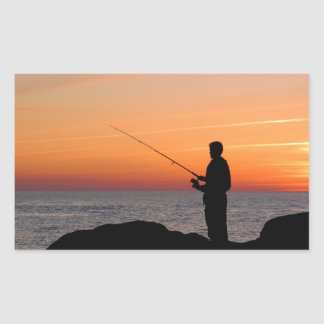 Angler and sunset on shore of the Baltic Sea Rectangular Sticker