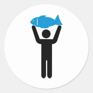Angler blue fish round sticker