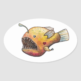 Angler fish love oval sticker