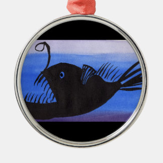 Angler Fish Silhouette Silver-Colored Round Decoration