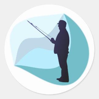 Angler Fisher Round Sticker