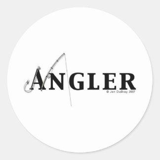 Angler logo round sticker