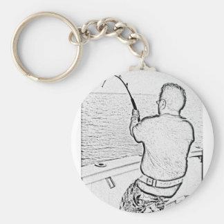 Angler playing a monster fish key chain