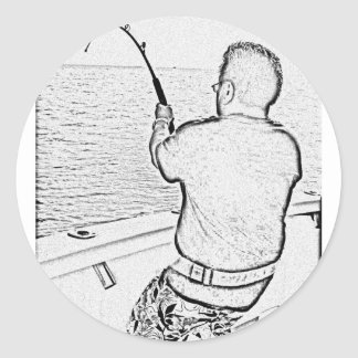 Angler playing a monster fish round stickers