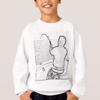 Angler playing a monster fish sweatshirt