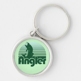 Angler Retro Fisherman Silver-Colored Round Key Ring