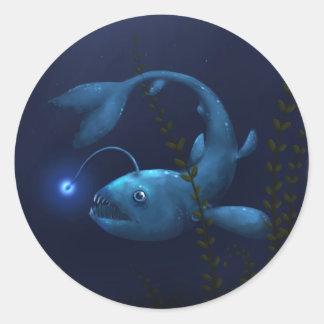 Anglerfish in the Undergrowth Round Sticker