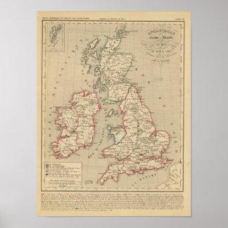 Angleterre, Ecosse, Irlande et Man 1100 a 1280 Poster