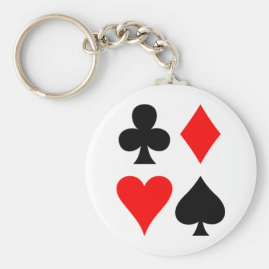 Anglo-American_card_suits Basic Round Button Key Ring