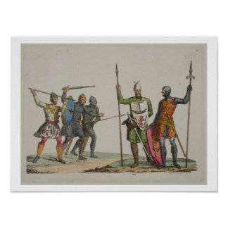 Anglo-Saxon Warriors, plate 14 from 'The History o Poster