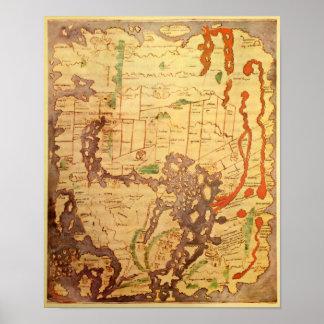 Anglo Saxon World Map Print