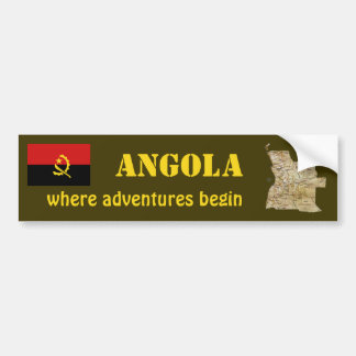 Angola Flag + Map Bumper Sticker