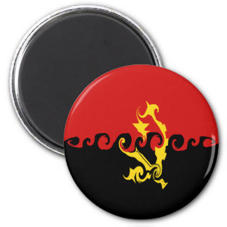 Angola Gnarly Flag 6 Cm Round Magnet