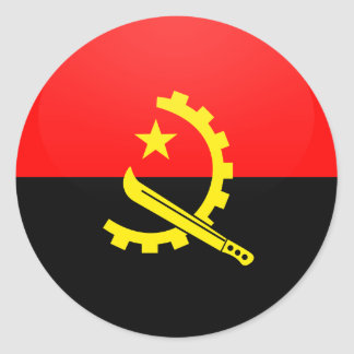 Angola quality Flag Circle Round Sticker