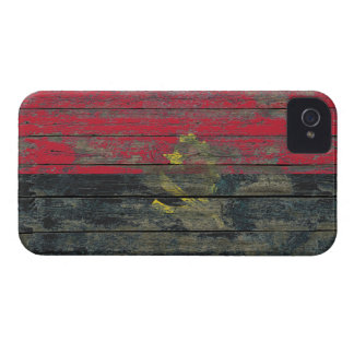 Angolan Flag on Rough Wood Boards Effect Case-Mate iPhone 4 Cases