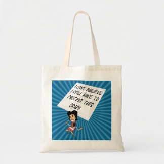 Angry activist with a protest sign budget tote bag