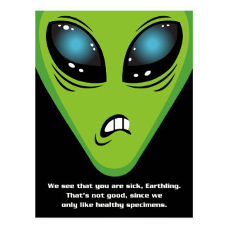 Angry Aliens Get Well Postcard