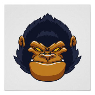 angry ape gorilla face poster
