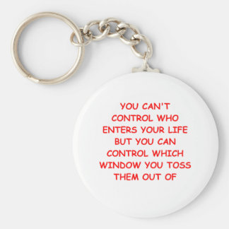 angry basic round button key ring