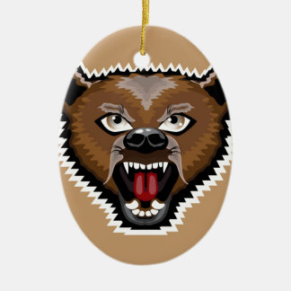 Angry Bear cartoon Ceramic Oval Decoration