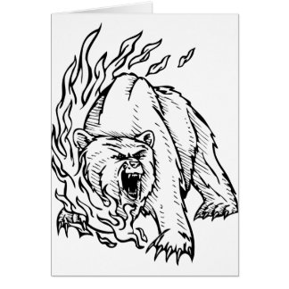 angry bear greeting cards