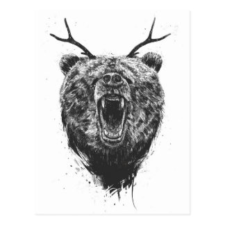 Angry bear with antlers postcard