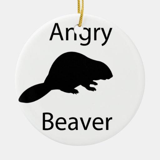 Angry beaver christmas tree ornament