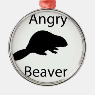 Angry beaver Silver-Colored round decoration
