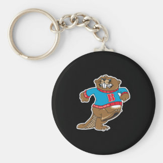 angry beaver wearing sweater basic round button key ring