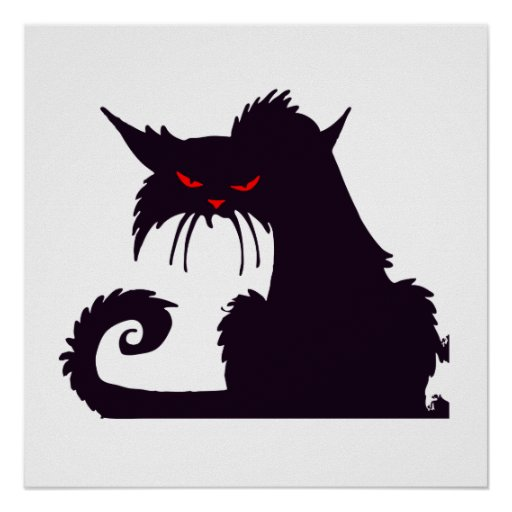 Angry Black Cat Print