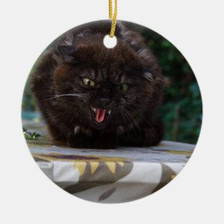 Angry Black Cat Round Ceramic Decoration