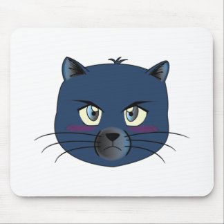 Angry Blue Cat Mouse Mat