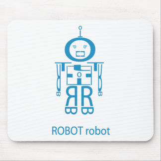 Angry Blue Robot Mouse Mat