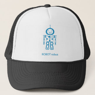 Angry Blue Robot Trucker Hat
