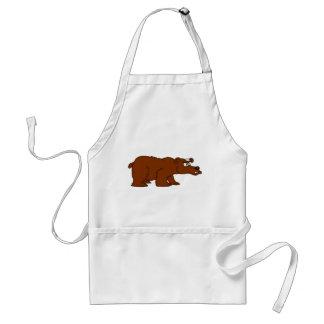Angry brown bear design aprons