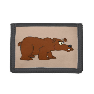 Angry brown bear design wallets
