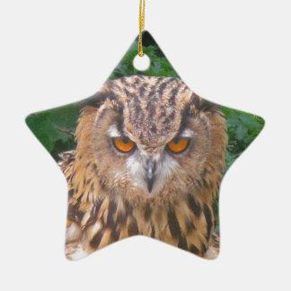 Angry Brown Owl Christmas Ornament