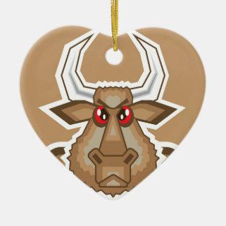 Angry Bull Ceramic Heart Decoration