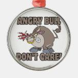 angry bull dont care funny cartoon parody christmas ornaments