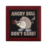 angry bull dont care funny cartoon parody jewelry box